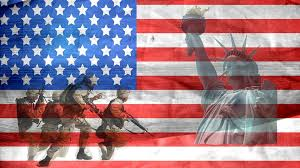 US Flag with Lady Liberty and soldiers