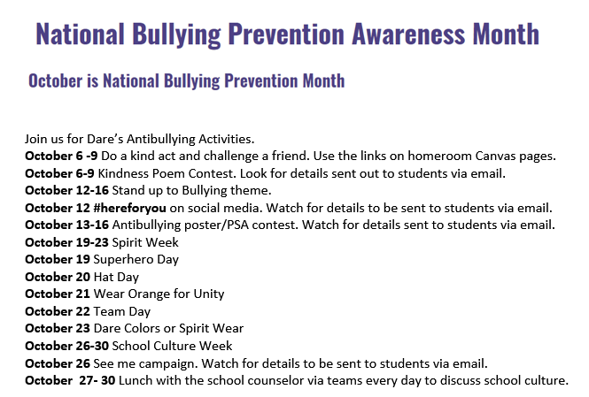 Dare Bullying Prevention Month Activities