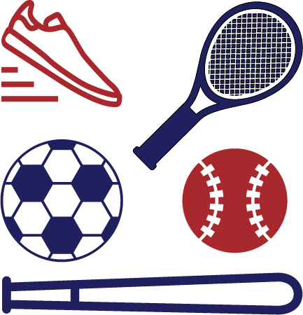 Baseball, running shoe, tennis racket, baseball, baseball bat