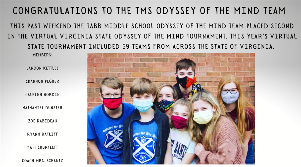 Congratulations Odyssey of the Mind Club!